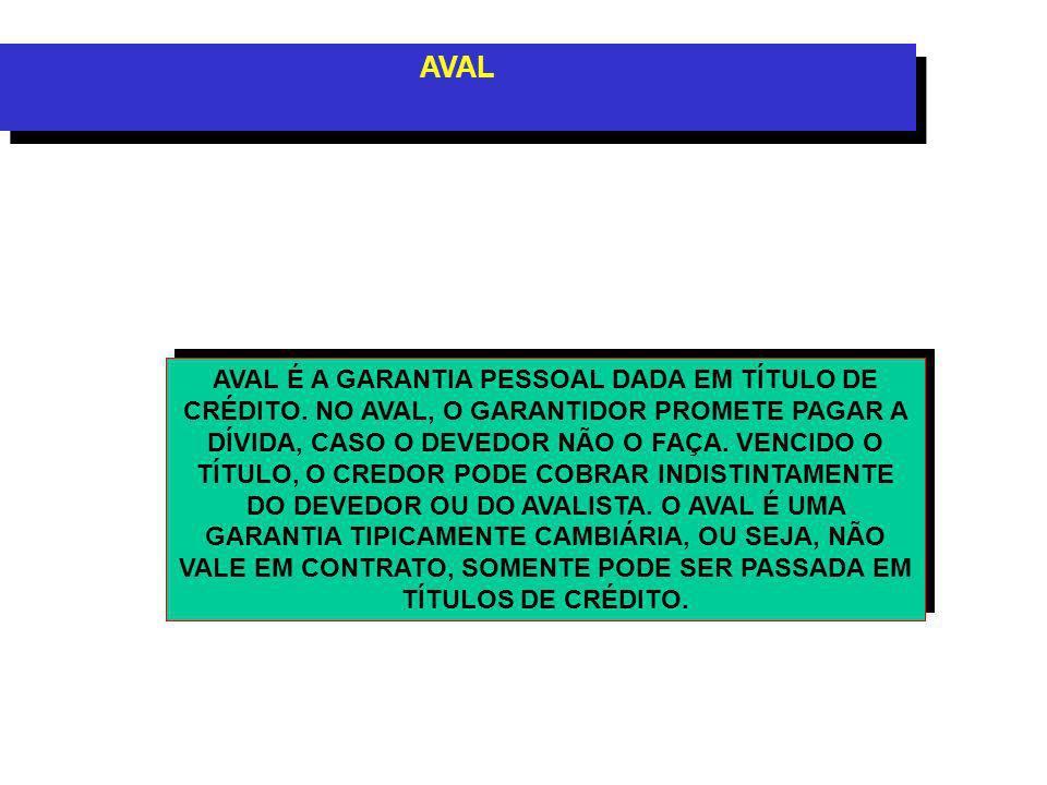 AVAL AVAL É A GARANTIA PESSOAL DADA EM TÍTULO DE CRÉDITO.