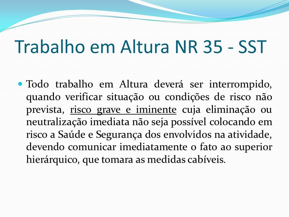 Trabalho em Altura NR 35 - SST Todo trabalho em Altura deverá ser interrompido, quando verificar situação ou condições de risco não prevista, risco gr