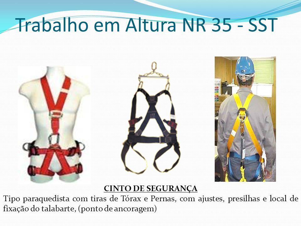 Trabalho em Altura NR 35 - SST CINTO DE SEGURANÇA Tipo paraquedista com tiras de Tórax e Pernas, com ajustes, presilhas e local de fixação do talabart