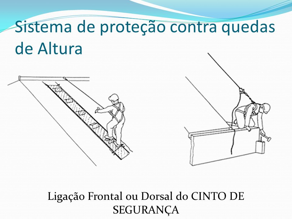 Sistema de proteção contra quedas de Altura Ligação Frontal ou Dorsal do CINTO DE SEGURANÇA