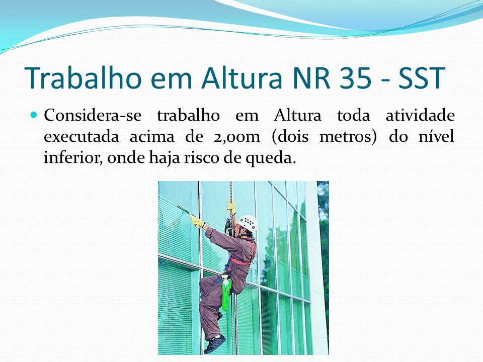 Trabalho em Altura NR 35 - SST Considera-se trabalho em Altura toda atividade executada acima de 2,00m (dois metros) do nível inferior, onde haja risc