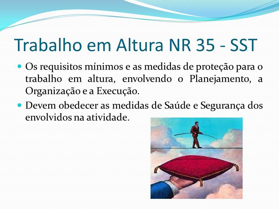 Trabalho em Altura NR 35 - SST Os requisitos mínimos e as medidas de proteção para o trabalho em altura, envolvendo o Planejamento, a Organização e a