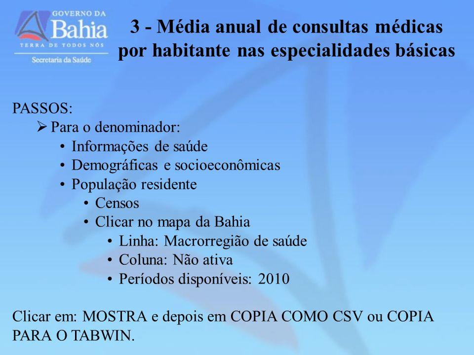 3 - Média anual de consultas médicas por habitante nas especialidades básicas PASSOS: Para o denominador: Informações de saúde Demográficas e socioeco