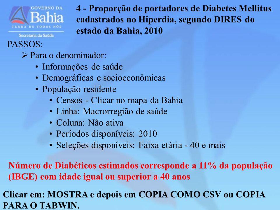 4 - Proporção de portadores de Diabetes Mellitus cadastrados no Hiperdia, segundo DIRES do estado da Bahia, 2010 Clicar em: MOSTRA e depois em COPIA C