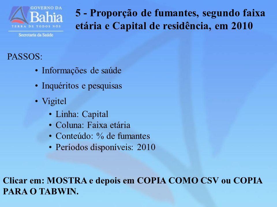 5 - Proporção de fumantes, segundo faixa etária e Capital de residência, em 2010 Clicar em: MOSTRA e depois em COPIA COMO CSV ou COPIA PARA O TABWIN.