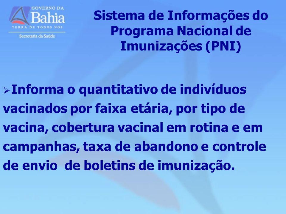 Sistema de Informações do Programa Nacional de Imunizações (PNI) Informa o quantitativo de indivíduos vacinados por faixa etária, por tipo de vacina,