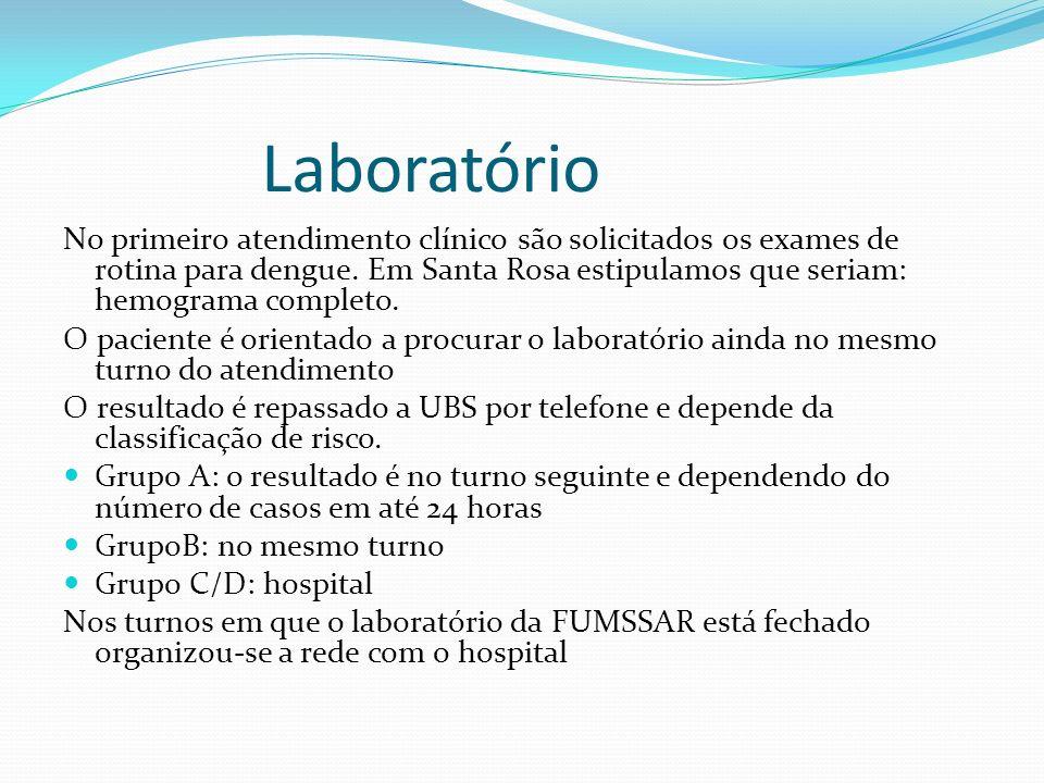 Laboratório No primeiro atendimento clínico são solicitados os exames de rotina para dengue. Em Santa Rosa estipulamos que seriam: hemograma completo.