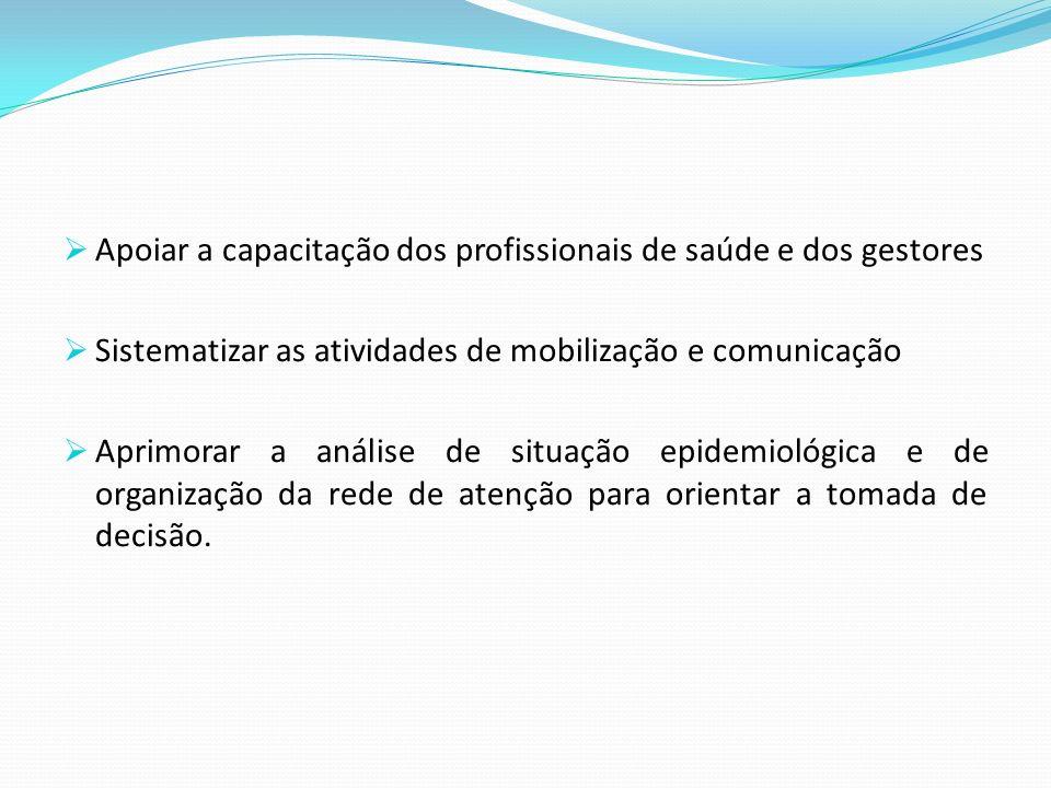 Apoiar a capacitação dos profissionais de saúde e dos gestores Sistematizar as atividades de mobilização e comunicação Aprimorar a análise de situação