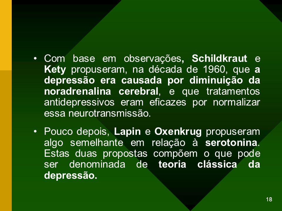 18 Com base em observações, Schildkraut e Kety propuseram, na década de 1960, que a depressão era causada por diminuição da noradrenalina cerebral, e