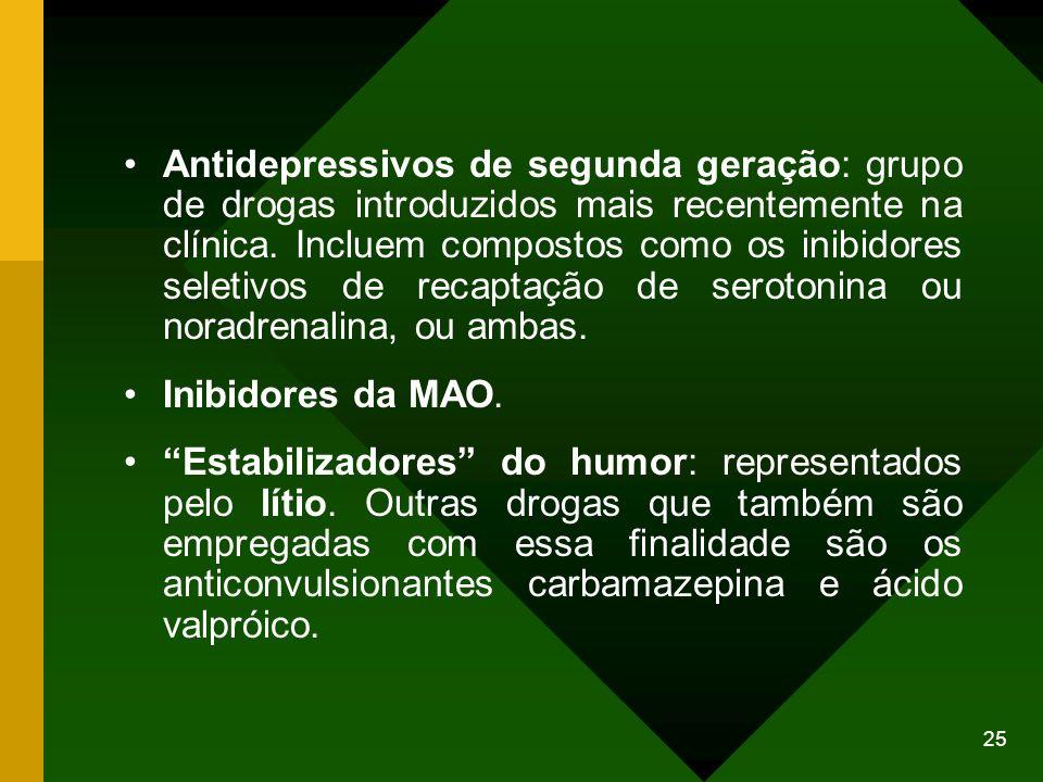 25 Antidepressivos de segunda geração: grupo de drogas introduzidos mais recentemente na clínica. Incluem compostos como os inibidores seletivos de re