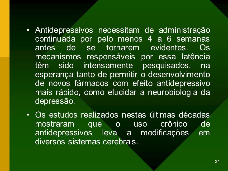 31 Antidepressivos necessitam de administração continuada por pelo menos 4 a 6 semanas antes de se tornarem evidentes. Os mecanismos responsáveis por