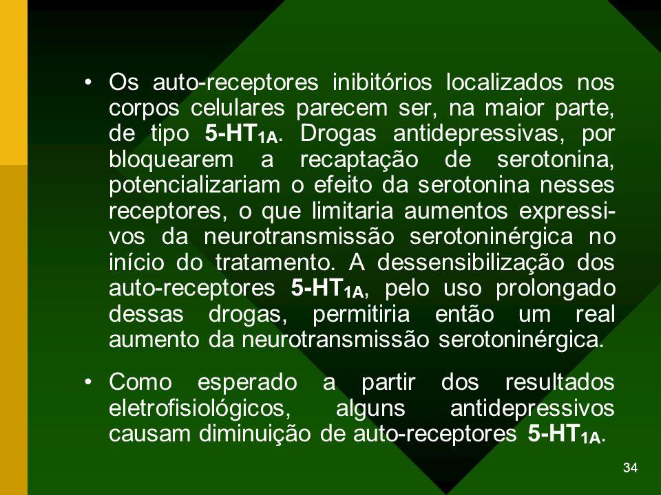 34 Os auto-receptores inibitórios localizados nos corpos celulares parecem ser, na maior parte, de tipo 5-HT 1A. Drogas antidepressivas, por bloqueare