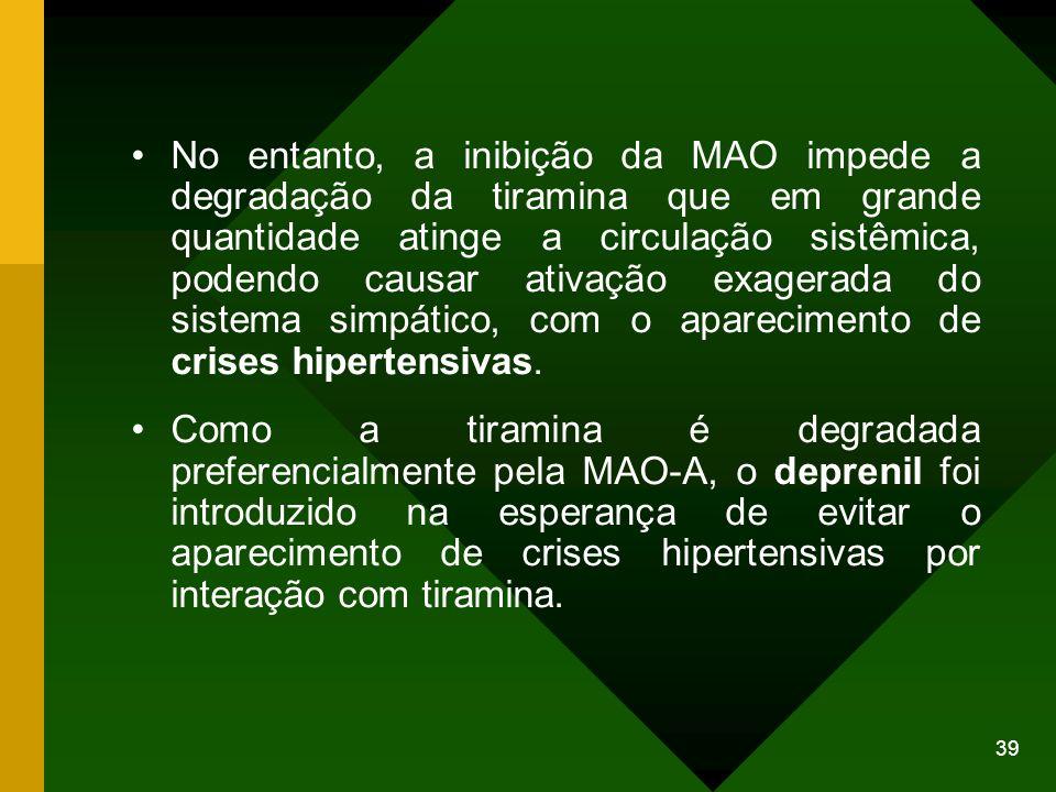 39 No entanto, a inibição da MAO impede a degradação da tiramina que em grande quantidade atinge a circulação sistêmica, podendo causar ativação exage