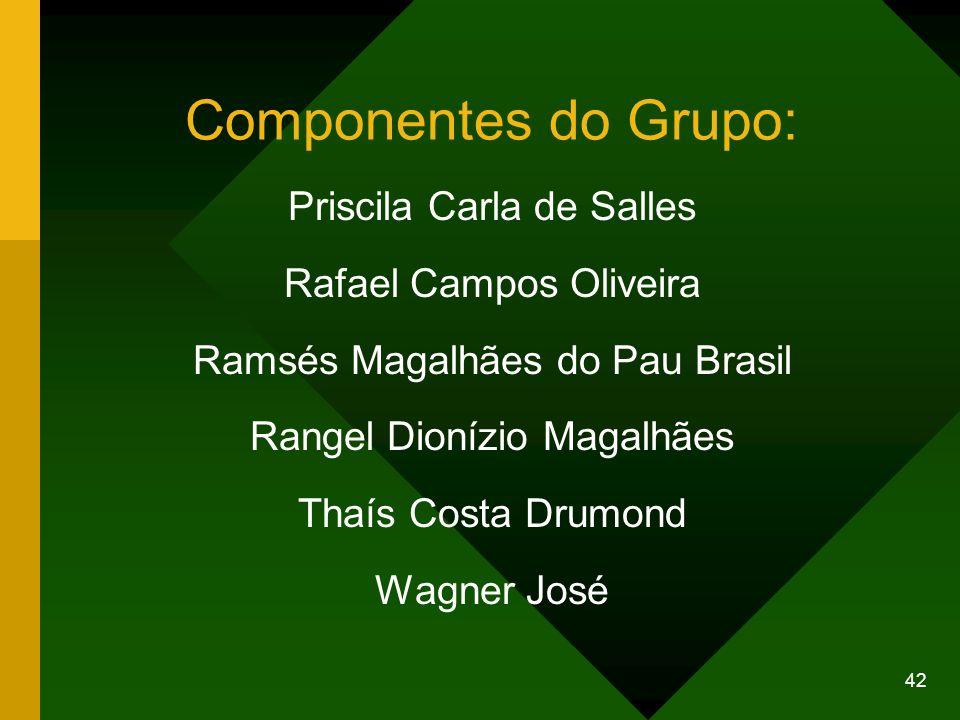 42 Componentes do Grupo: Priscila Carla de Salles Rafael Campos Oliveira Ramsés Magalhães do Pau Brasil Rangel Dionízio Magalhães Thaís Costa Drumond