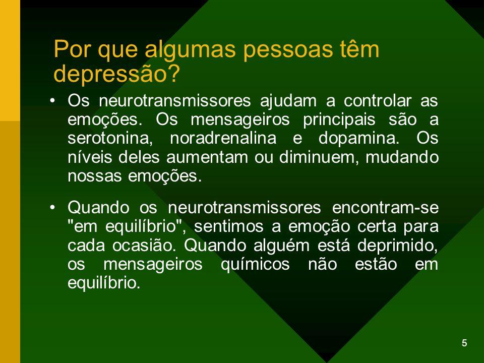 6 Ainda não está claro por que isso ocorre em algumas pessoas e não em outras, mas parece que a depressão ocorre em certas famílias.