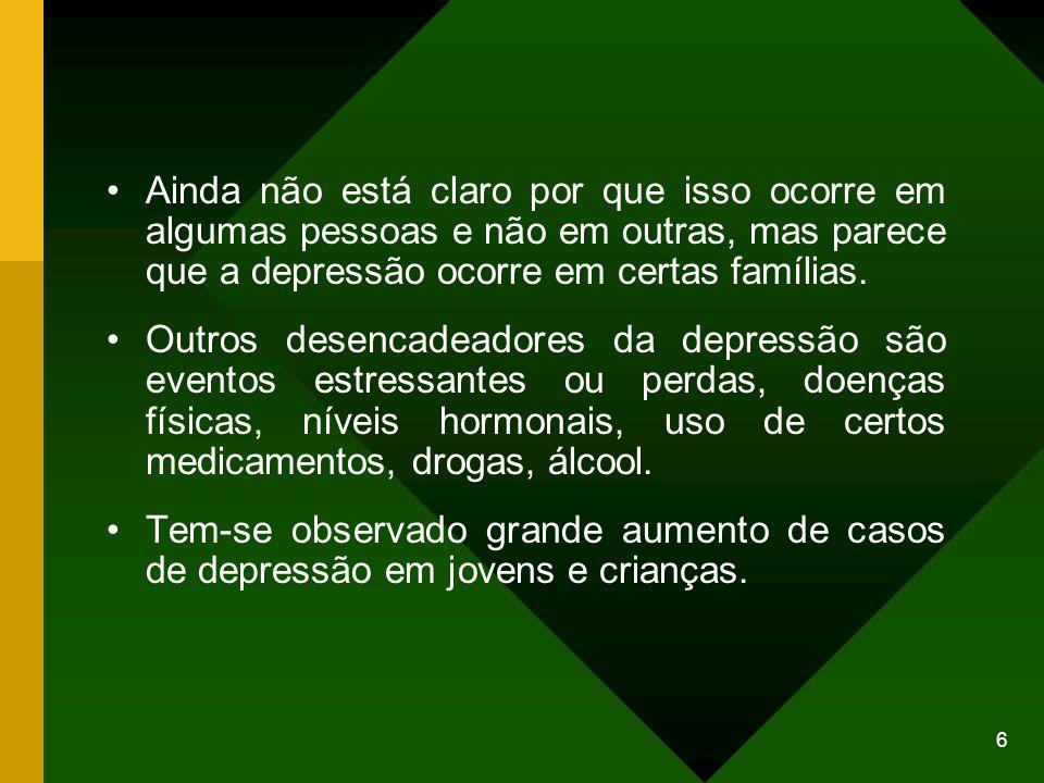 6 Ainda não está claro por que isso ocorre em algumas pessoas e não em outras, mas parece que a depressão ocorre em certas famílias. Outros desencadea