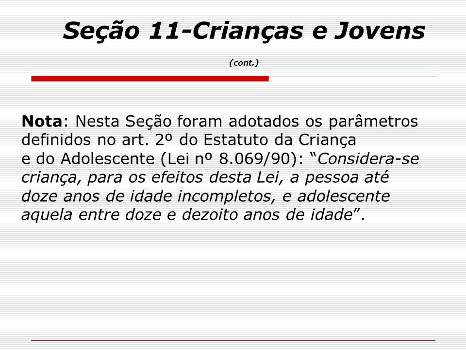 Nota: Nesta Seção foram adotados os parâmetros definidos no art. 2º do Estatuto da Criança e do Adolescente (Lei nº 8.069/90): Considera-se criança, p