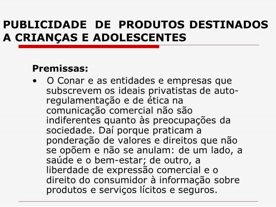 PUBLICIDADE DE PRODUTOS DESTINADOS A CRIANÇAS E ADOLESCENTES Premissas: O Conar e as entidades e empresas que subscrevem os ideais privatistas de auto