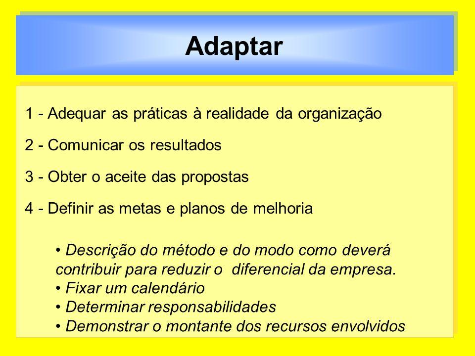 Adaptar 1 - Adequar as práticas à realidade da organização 2 - Comunicar os resultados 3 - Obter o aceite das propostas 4 - Definir as metas e planos