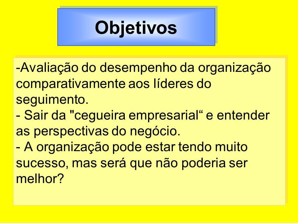 Objetivos -Avaliação do desempenho da organização comparativamente aos líderes do seguimento. - Sair da