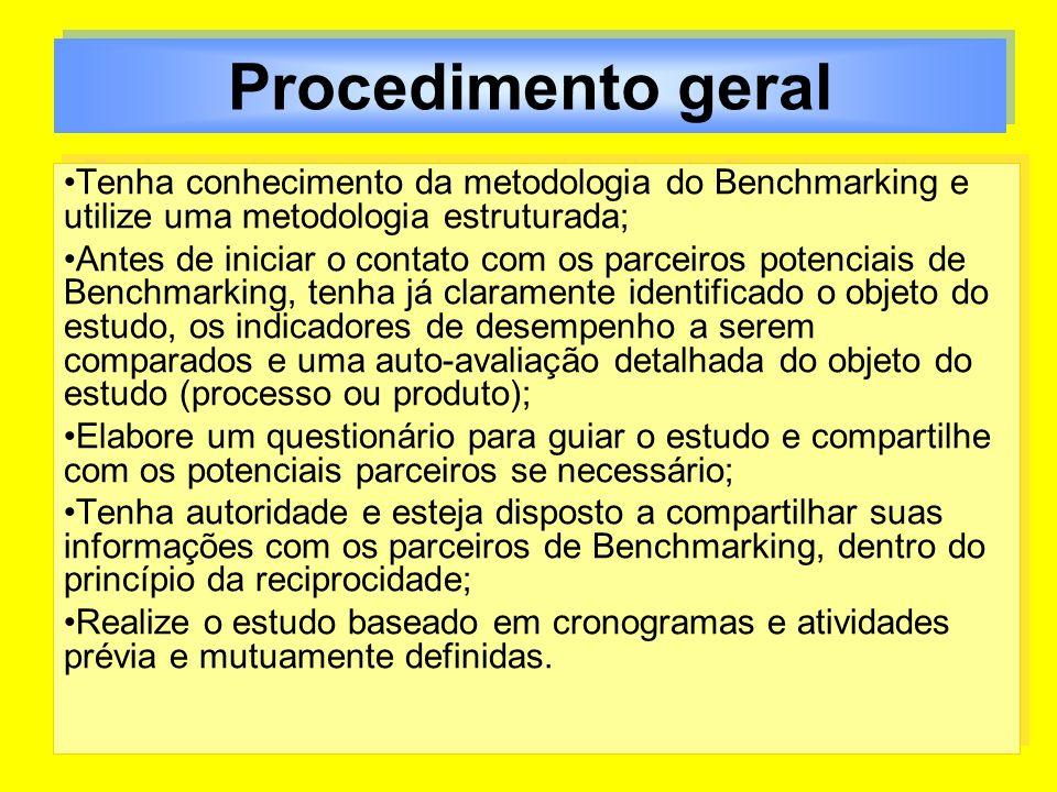 Procedimento geral Tenha conhecimento da metodologia do Benchmarking e utilize uma metodologia estruturada; Antes de iniciar o contato com os parceiro