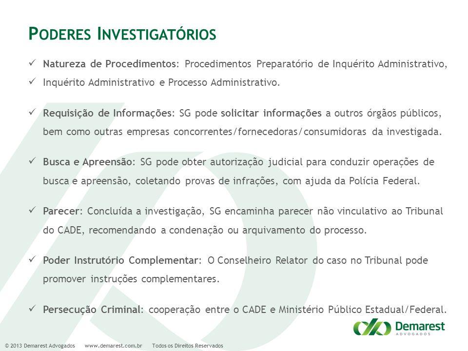 © 2013 Demarest Advogados www.demarest.com.br Todos os Direitos Reservados P ODERES I NVESTIGATÓRIOS Natureza de Procedimentos: Procedimentos Preparat