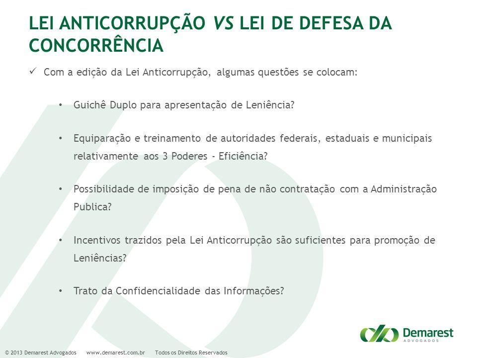 © 2013 Demarest Advogados www.demarest.com.br Todos os Direitos Reservados LEI ANTICORRUPÇÃO VS LEI DE DEFESA DA CONCORRÊNCIA Com a edição da Lei Anti