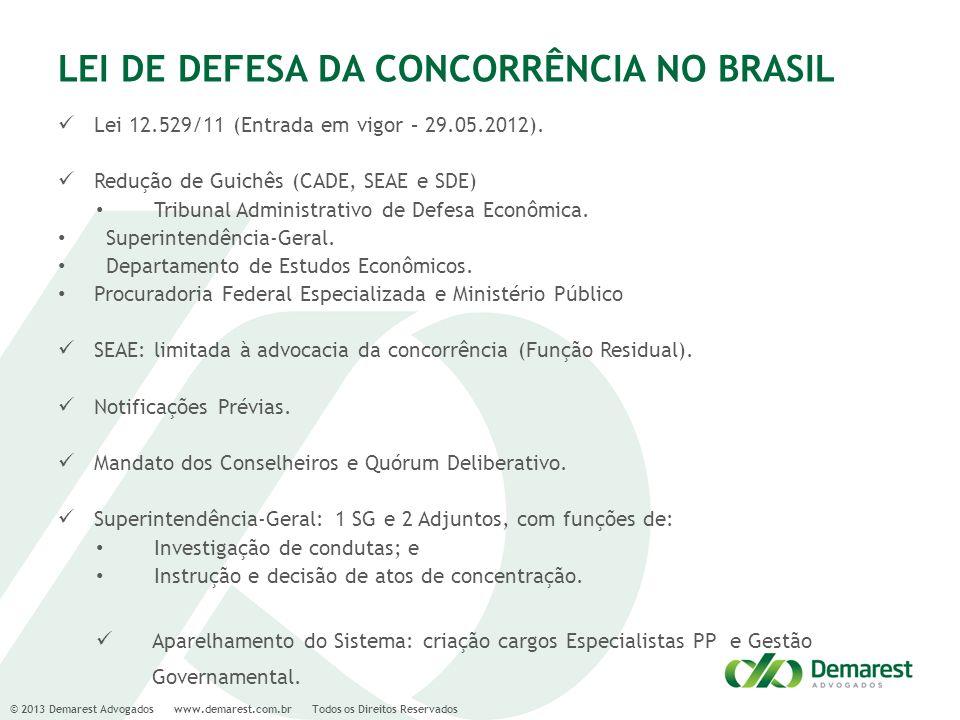 © 2013 Demarest Advogados www.demarest.com.br Todos os Direitos Reservados LEI DE DEFESA DA CONCORRÊNCIA NO BRASIL Lei 12.529/11 (Entrada em vigor – 2