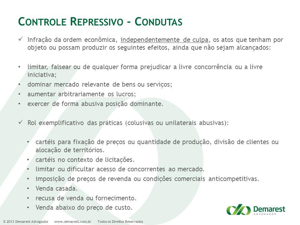 © 2013 Demarest Advogados www.demarest.com.br Todos os Direitos Reservados C ONTROLE R EPRESSIVO - C ONDUTAS Infração da ordem econômica, independente