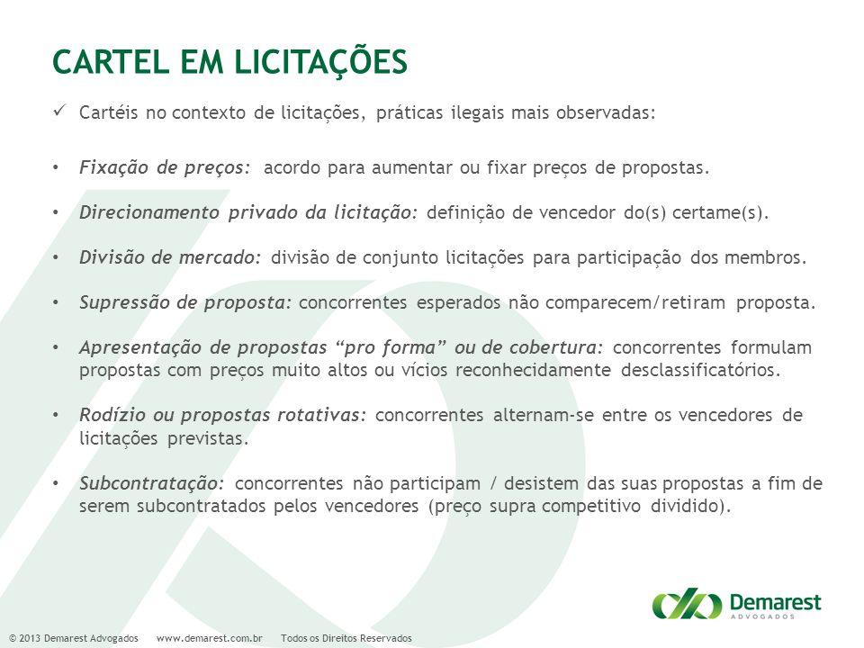 © 2013 Demarest Advogados www.demarest.com.br Todos os Direitos Reservados CARTEL EM LICITAÇÕES Cartéis no contexto de licitações, práticas ilegais ma