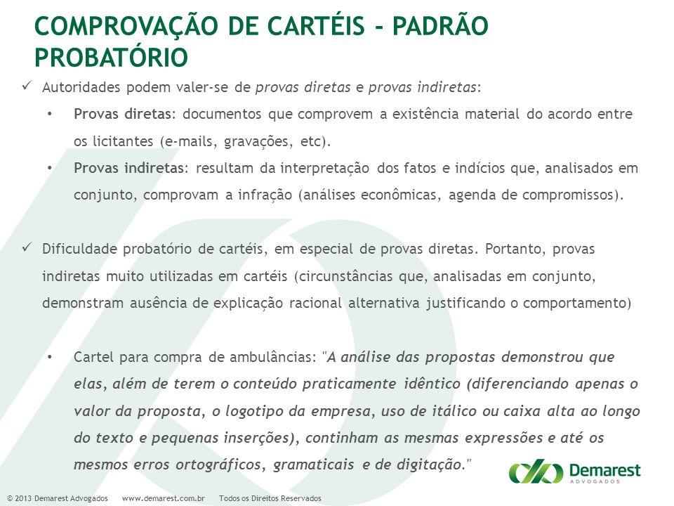 © 2013 Demarest Advogados www.demarest.com.br Todos os Direitos Reservados COMPROVAÇÃO DE CARTÉIS - PADRÃO PROBATÓRIO Autoridades podem valer-se de pr