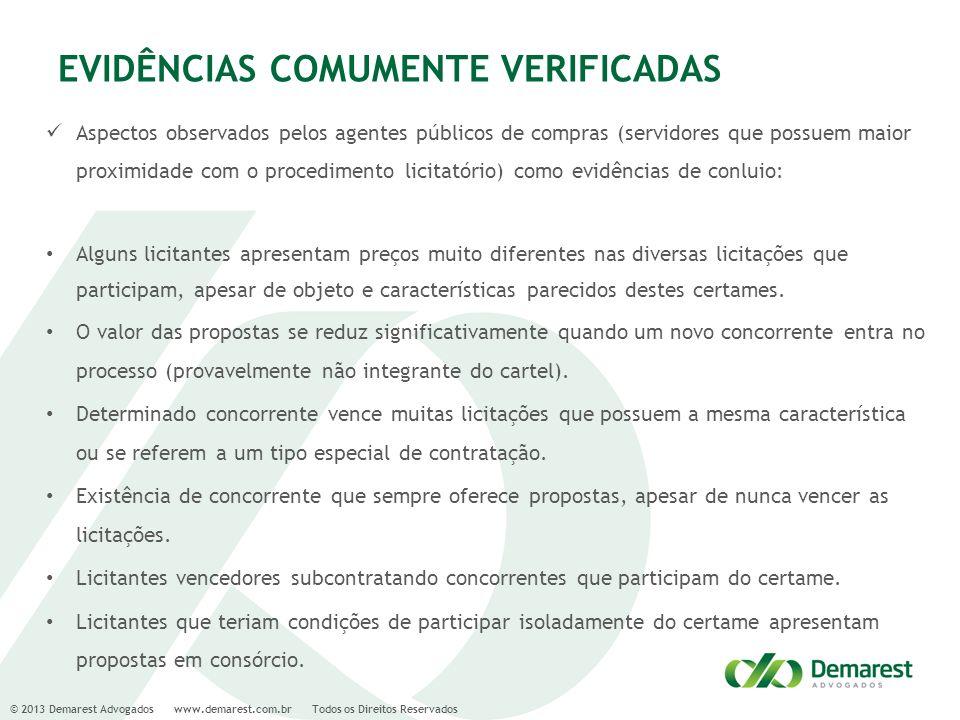 © 2013 Demarest Advogados www.demarest.com.br Todos os Direitos Reservados EVIDÊNCIAS COMUMENTE VERIFICADAS Aspectos observados pelos agentes públicos