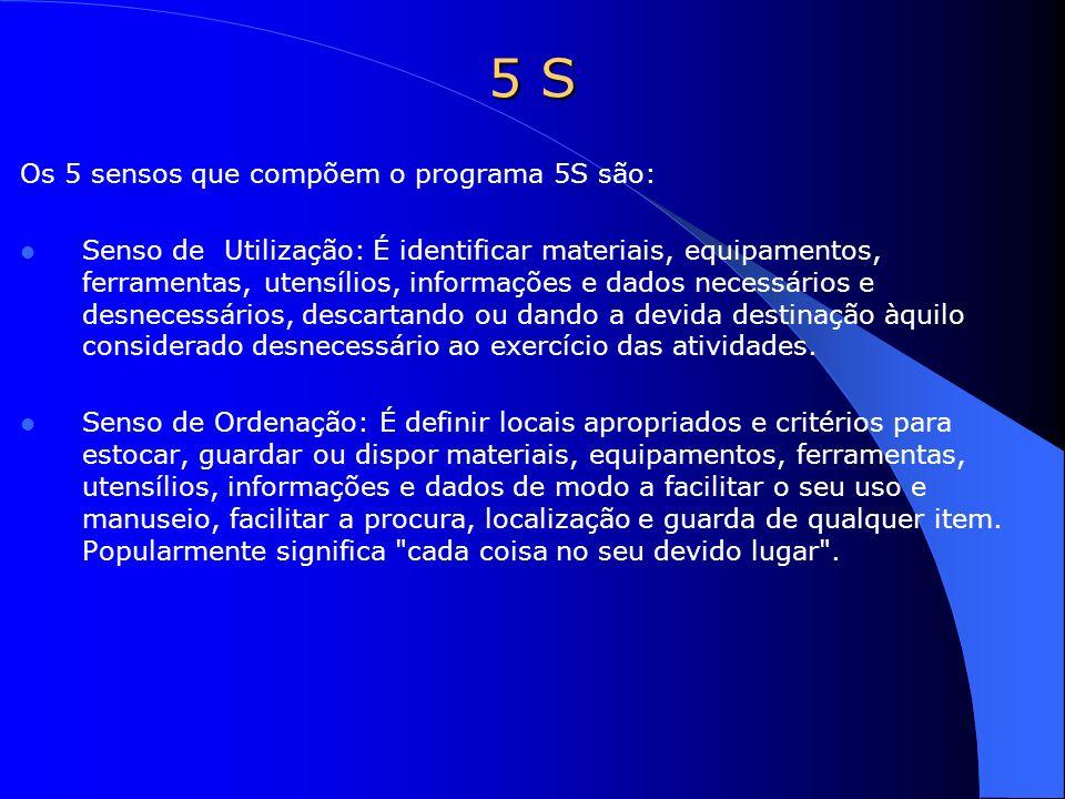 Os 5 sensos que compõem o programa 5S são: Senso de Utilização: É identificar materiais, equipamentos, ferramentas, utensílios, informações e dados ne