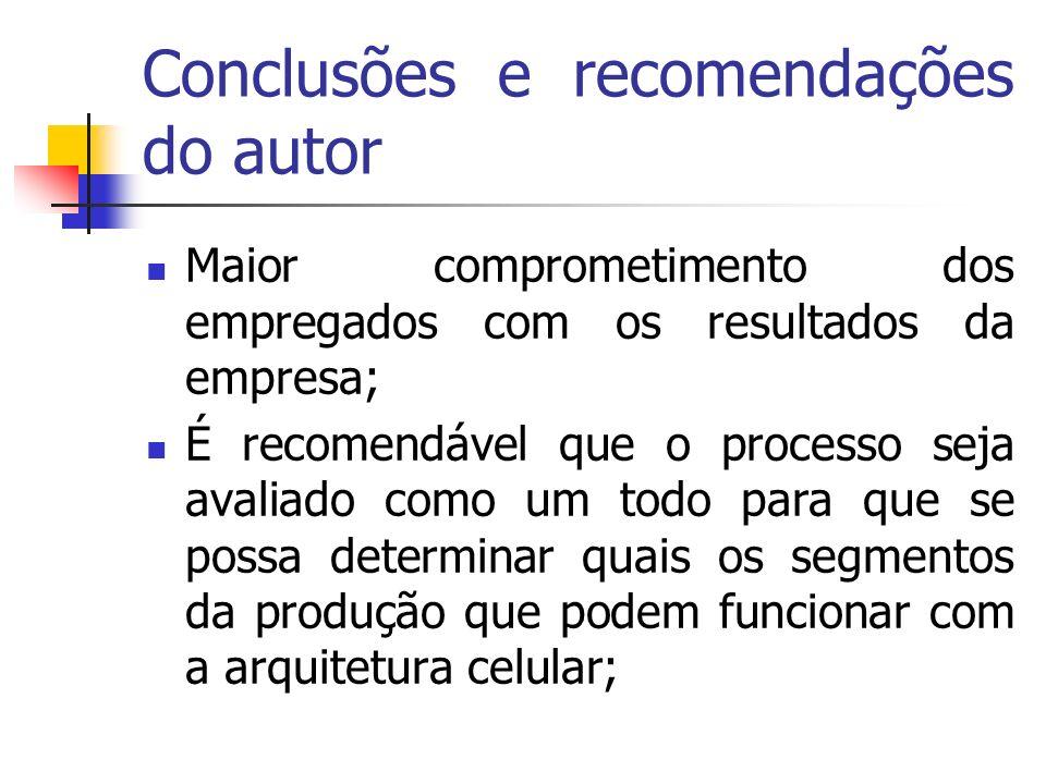 Conclusões e recomendações do autor Maior comprometimento dos empregados com os resultados da empresa; É recomendável que o processo seja avaliado com