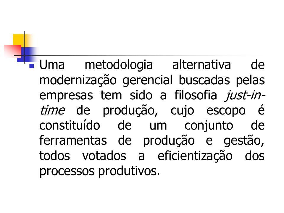 Uma metodologia alternativa de modernização gerencial buscadas pelas empresas tem sido a filosofia just-in- time de produção, cujo escopo é constituíd