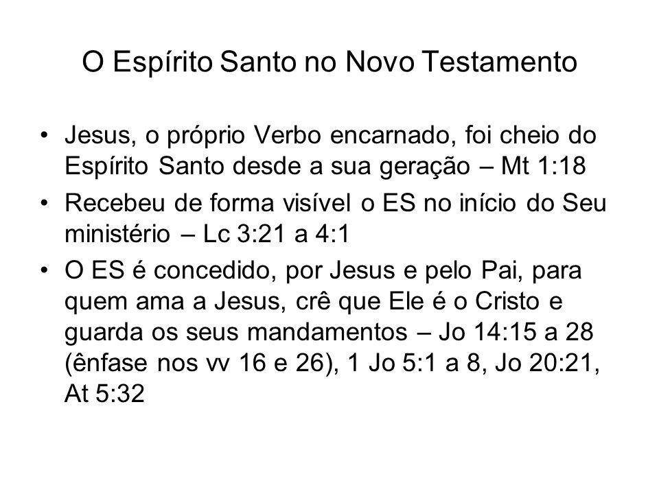 O Espírito Santo no Novo Testamento Jesus, o próprio Verbo encarnado, foi cheio do Espírito Santo desde a sua geração – Mt 1:18 Recebeu de forma visív