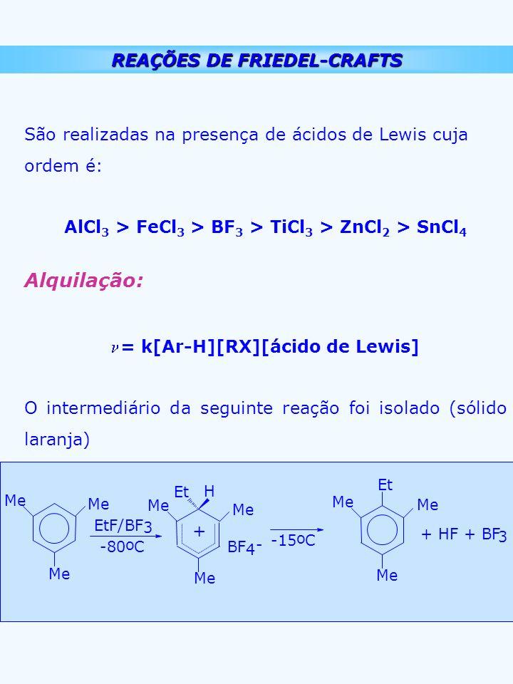 REAÇÕES DE FRIEDEL-CRAFTS São realizadas na presença de ácidos de Lewis cuja ordem é: AlCl 3 > FeCl 3 > BF 3 > TiCl 3 > ZnCl 2 > SnCl 4 Alquilação: =