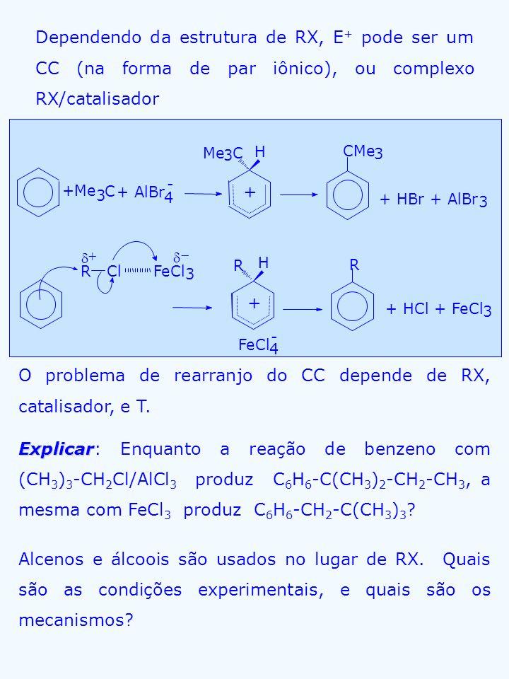 Dependendo da estrutura de RX, E + pode ser um CC (na forma de par iônico), ou complexo RX/catalisador 4 O problema de rearranjo do CC depende de RX,
