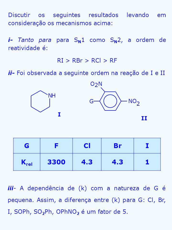 Discutir os seguintes resultados levando em consideração os mecanismos acima: i- Tanto para para S N 1 como S N 2, a ordem de reatividade é: RI > RBr