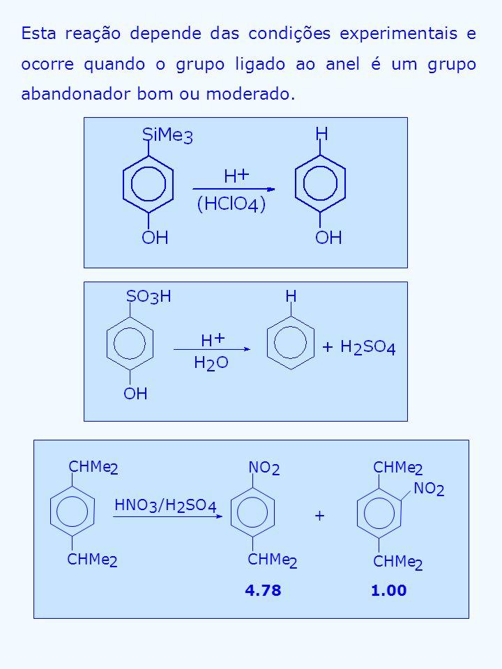 Esta reação depende das condições experimentais e ocorre quando o grupo ligado ao anel é um grupo abandonador bom ou moderado. CHMe 2 HNO 3 /H 2 SO 4