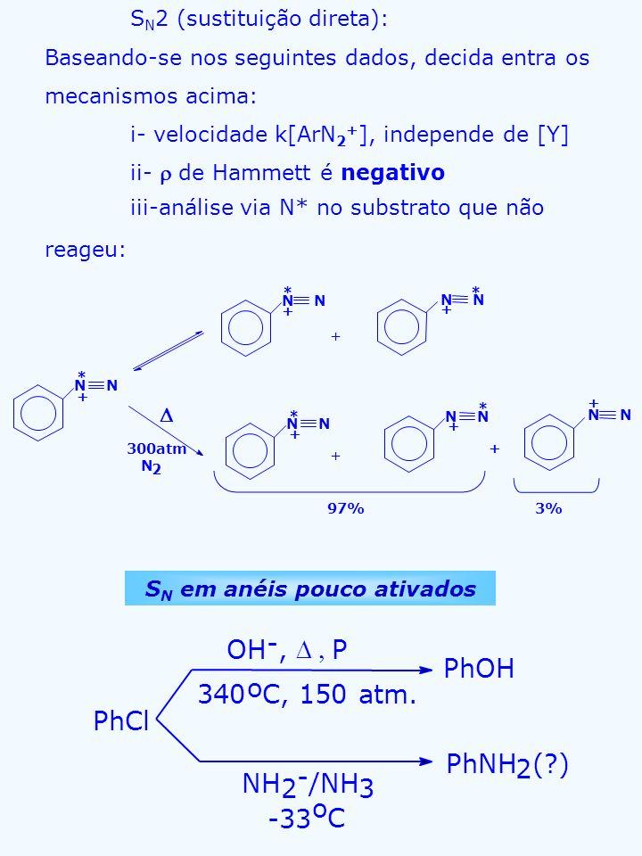 S N 2 (sustituição direta): Baseando-se nos seguintes dados, decida entra os mecanismos acima: i- velocidade k[ArN 2 + ], independe de [Y] ii- de Hamm