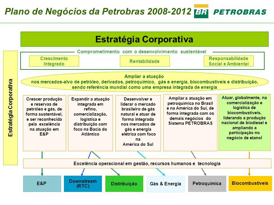 Estratégia Corporativa Desenvolver e liderar o mercado brasileiro de gás natural e atuar de forma integrada nos mercados de gás e energia elétrica com