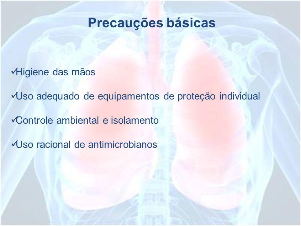 Precauções básicas Higiene das mãos Uso adequado de equipamentos de proteção individual Controle ambiental e isolamento Uso racional de antimicrobiano