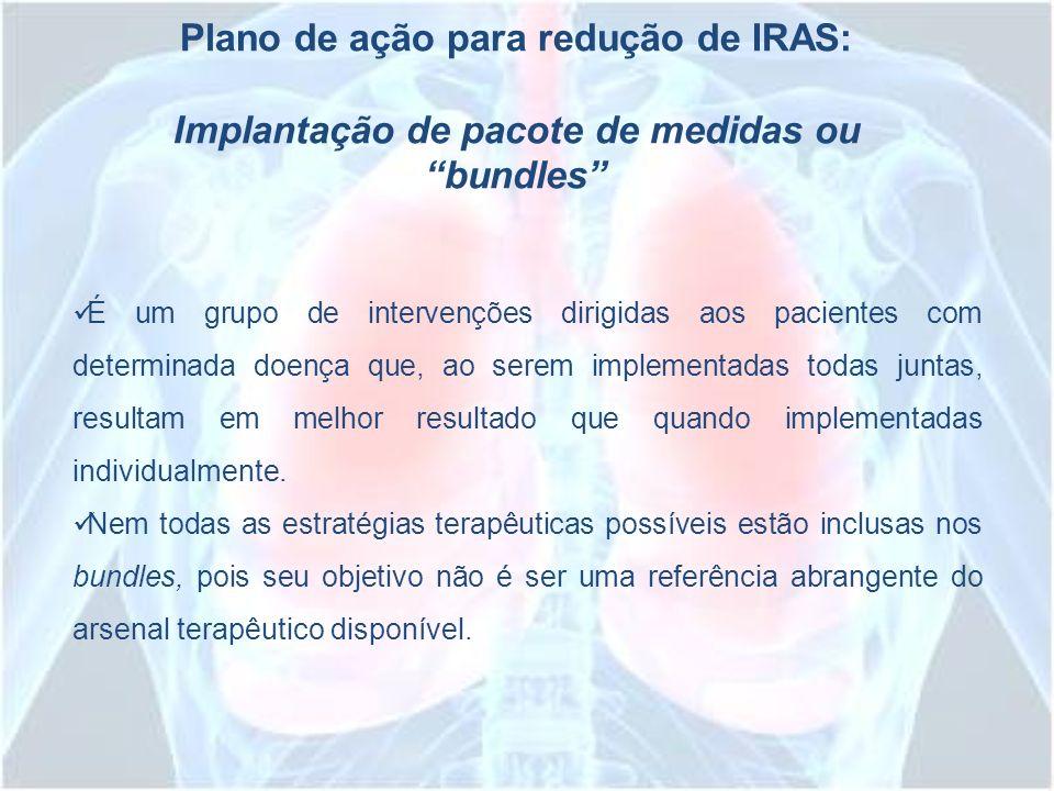 Plano de ação para redução de IRAS: Implantação de pacote de medidas ou bundles É um grupo de intervenções dirigidas aos pacientes com determinada doe