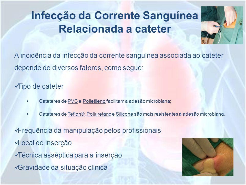 Infecção da Corrente Sanguínea Relacionada a cateter A incidência da infecção da corrente sanguínea associada ao cateter depende de diversos fatores,