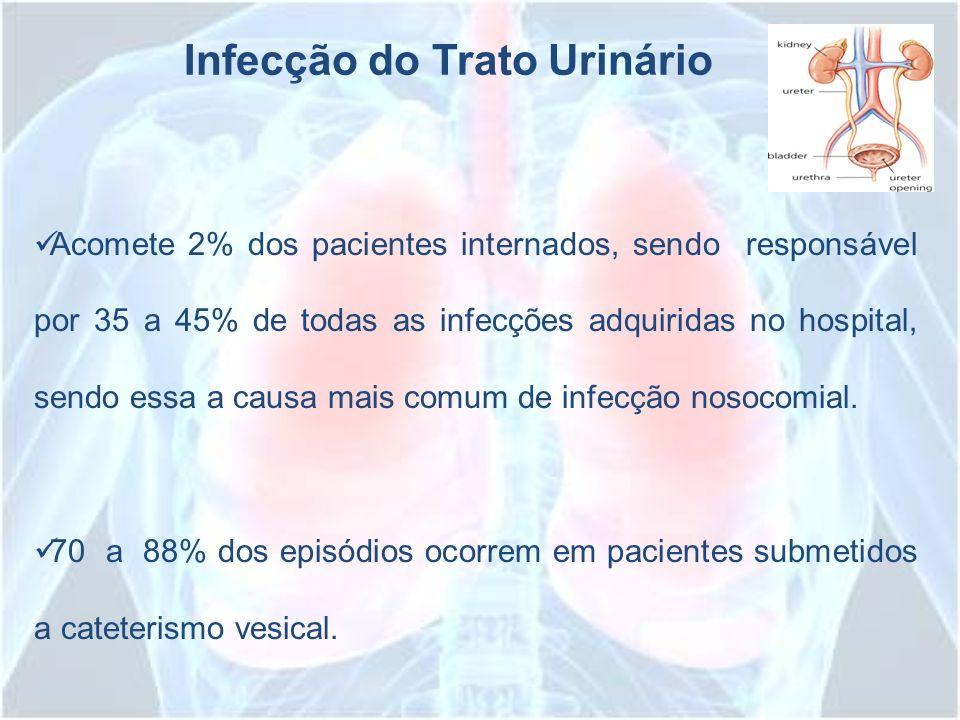 Infecção do Trato Urinário Acomete 2% dos pacientes internados, sendo responsável por 35 a 45% de todas as infecções adquiridas no hospital, sendo ess