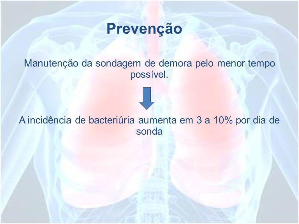 Manutenção da sondagem de demora pelo menor tempo possível. A incidência de bacteriúria aumenta em 3 a 10% por dia de sonda Prevenção
