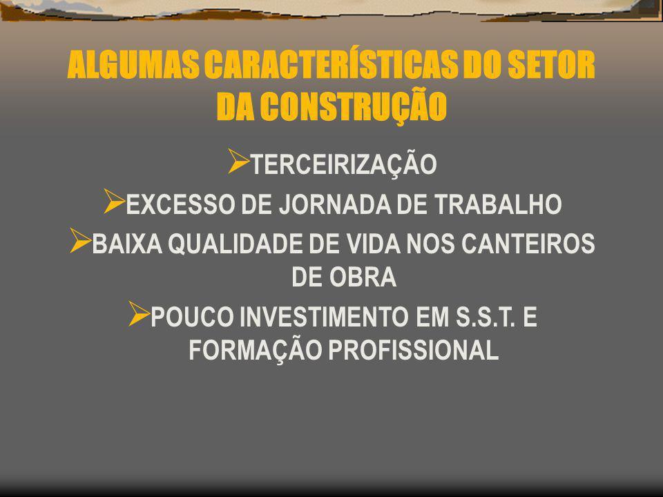 ALGUMAS CARACTERÍSTICAS DO SETOR DA CONSTRUÇÃO TERCEIRIZAÇÃO EXCESSO DE JORNADA DE TRABALHO BAIXA QUALIDADE DE VIDA NOS CANTEIROS DE OBRA POUCO INVEST