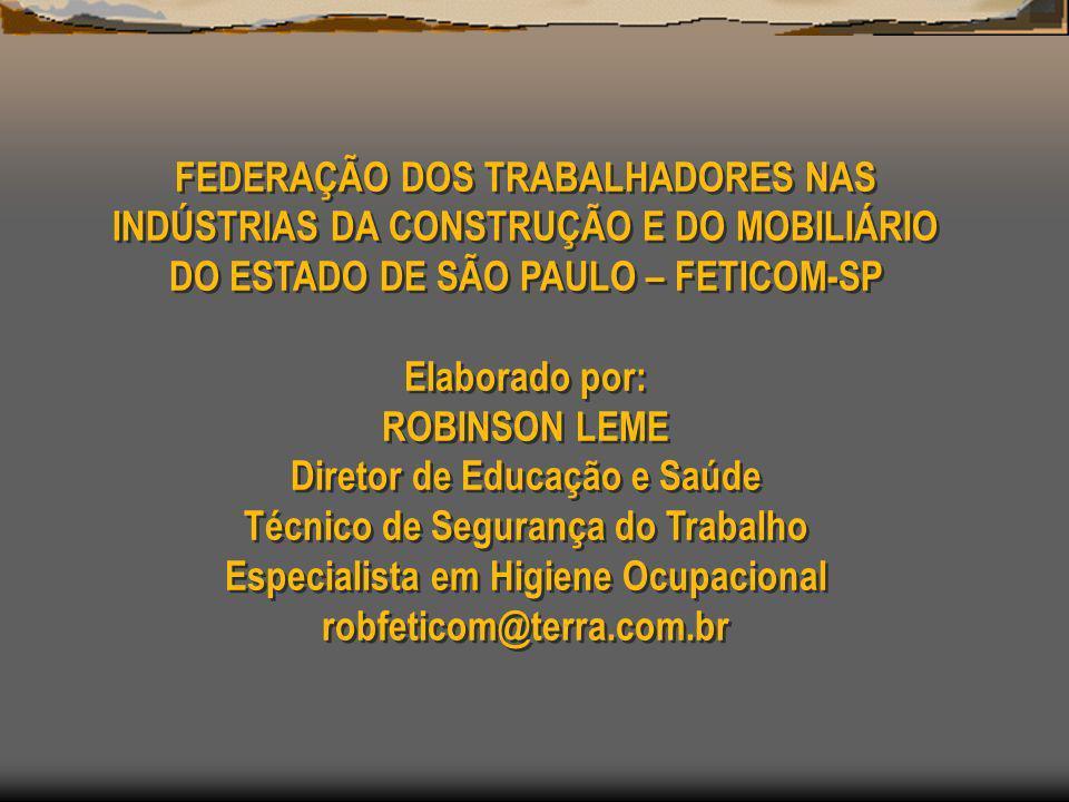 FEDERAÇÃO DOS TRABALHADORES NAS INDÚSTRIAS DA CONSTRUÇÃO E DO MOBILIÁRIO DO ESTADO DE SÃO PAULO – FETICOM-SP Elaborado por: ROBINSON LEME Diretor de E