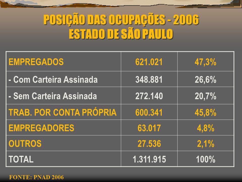 POSIÇÃO DAS OCUPAÇÕES - 2006 ESTADO DE SÃO PAULO EMPREGADOS621.02147,3% - Com Carteira Assinada348.88126,6% - Sem Carteira Assinada272.14020,7% TRAB.